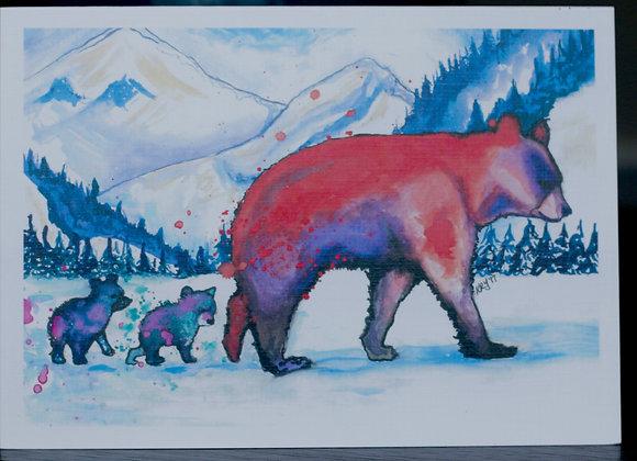 Snowy Bear Family Greeting Card