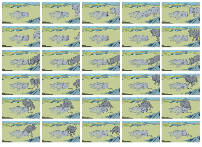 Storyboard from Leave a print (2016).