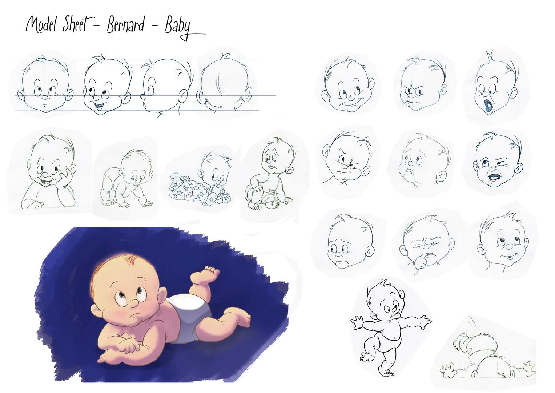 Bernard - Baby character design. Exercise, 2017.