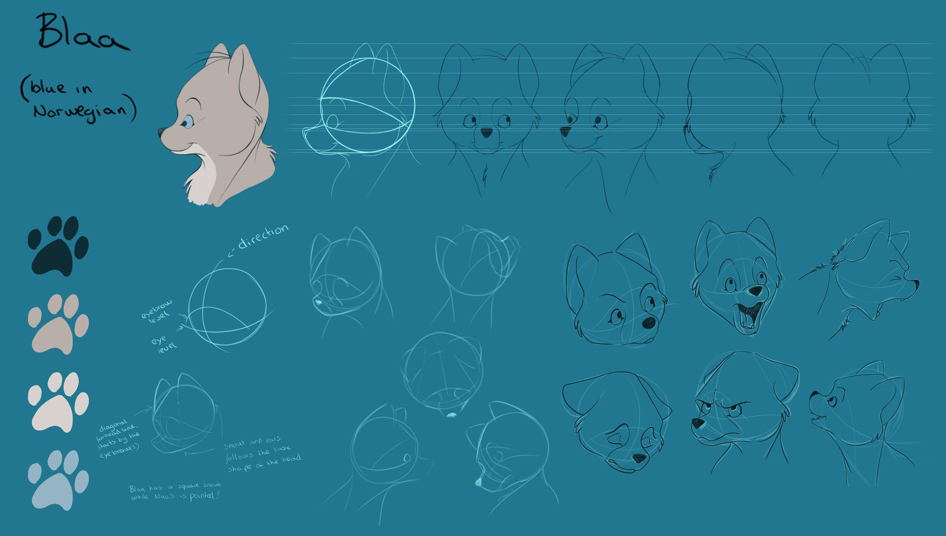 Fox cub character design. From graduation film, Leave a print, 2016