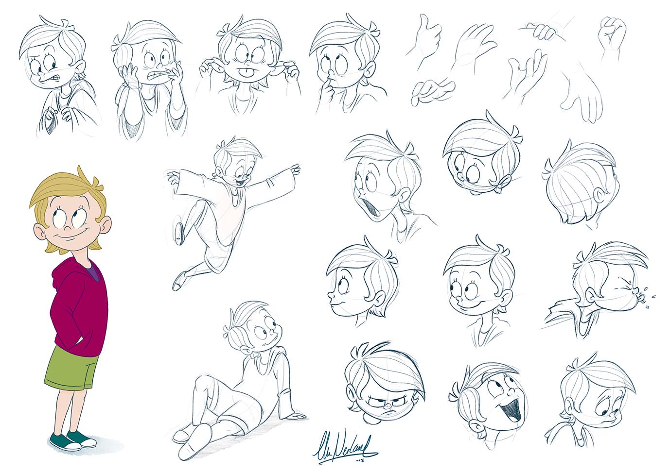 Freya - Child character design. Exercise, 2018.