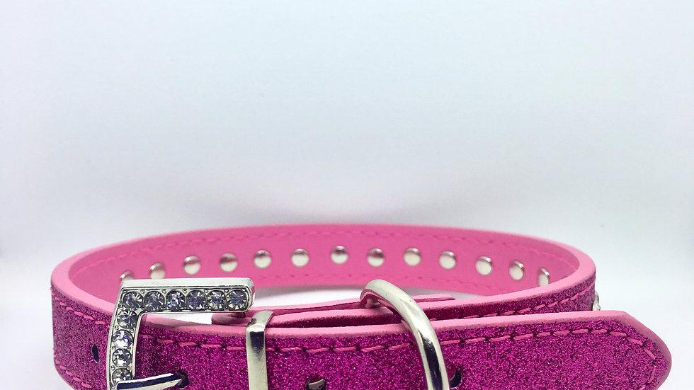 Pink Glitter Rhinestone Collar with Rhinestone Buckle