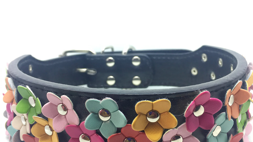 Faux Leather Collar with Multicolored Flowers
