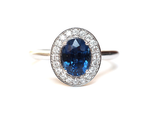 Natural Blue Sapphire and Diamond Halo Oval Ring