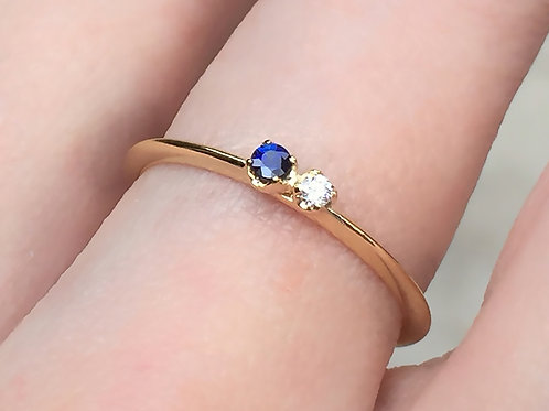 Dainty Blue Sapphire and White Diamond Ring