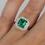 Thumbnail: Emerald Cut Emerald Diamond Halo Ring