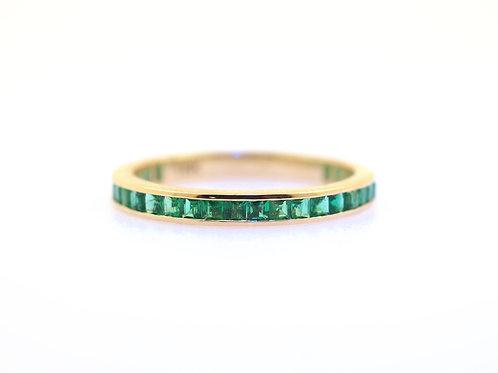 Channel Set Princess Cut Emerald Eternity Ring
