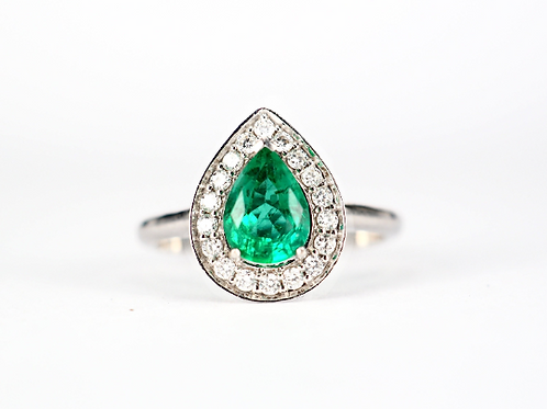 Pear Cut Emerald Diamond Halo Ring