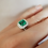 Thumbnail: Natural Emerald Wedding Ring Set with Diamond Halo