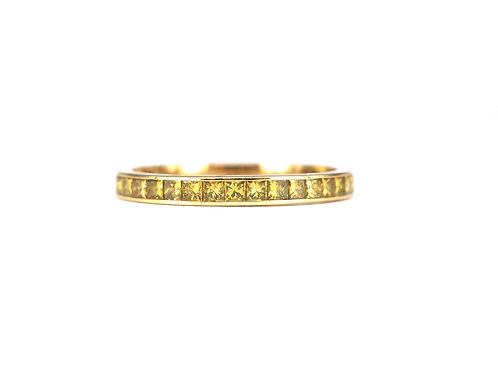 Channel Set Yellow Diamond Princess Eternity Ring