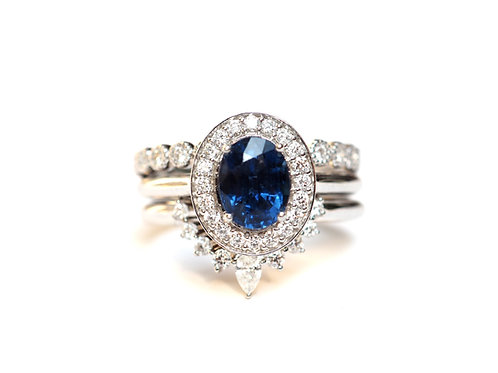 3 Ring Set Oval Blue Sapphire Diamond Halo, Nesting and Eternity