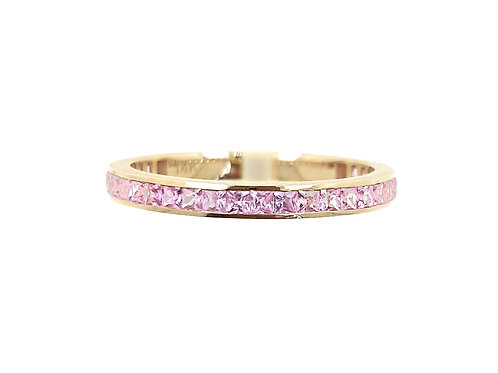 Channel Set Light Pink Sapphire Princess Eternity Ring