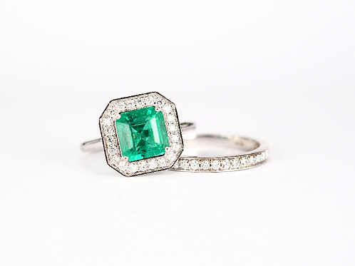 Natural Emerald Wedding Ring Set with Diamond Halo