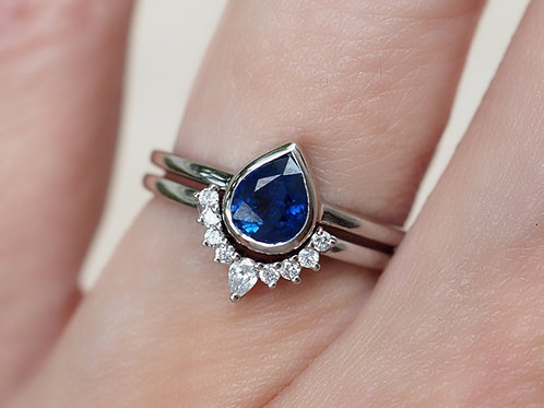 Pear Shaped Sapphire with Natural Diamond Nesting Ring Set