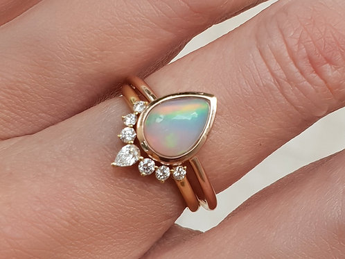 Pear Shaped Opal with Natural Diamond Nesting Ring Set
