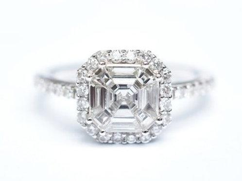 Asscher Illusion Diamond Ring