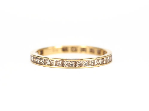 Channel Set Champagne Diamond Princess Eternity Ring