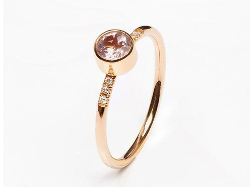 Bezel Set Morganite Diamond Accent Ring