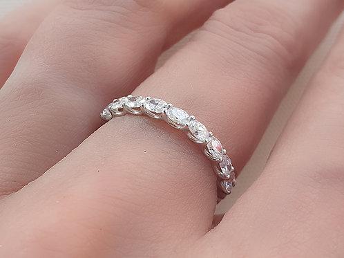 Prong Set Oval Cut Diamond Eternity Ring 2mm
