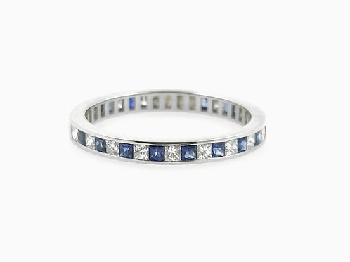 Sapphire and Diamond Princess Cut Channel Set Eternity Ring