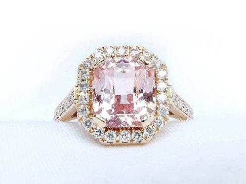 Pink Sapphire Diamond Halo Engagement Ring