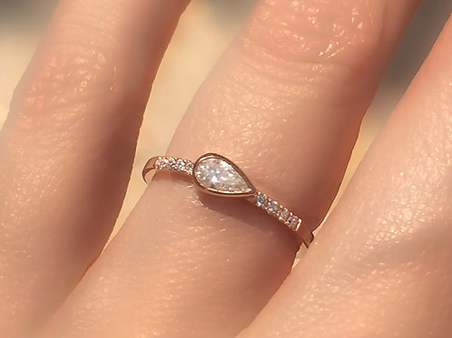 Pear Cut Diamond Horizontal Bezel Set Ring with Diamond Accents