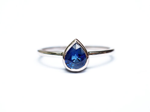 Blue Sapphire Pear Ring