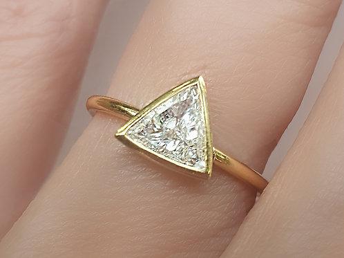 Bezel Set Trillion Cut Diamond Ring 0.10 to 0.50ctw