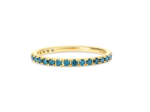 Teal Blue Diamond Eternity Ring 1.6mm