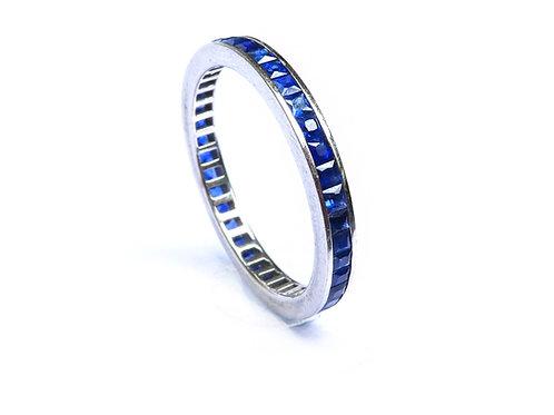 Channel Set Princess Cut Sapphire Eternity Ring