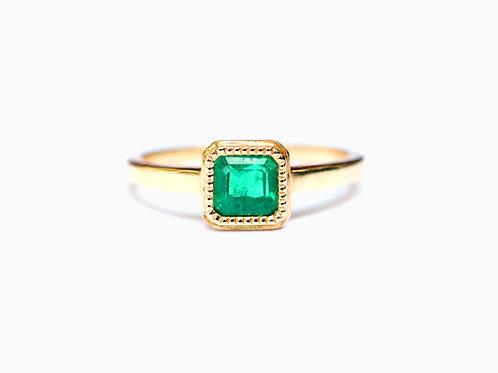 Emerald Cut Zambian Emerald Ring 0.45ctw
