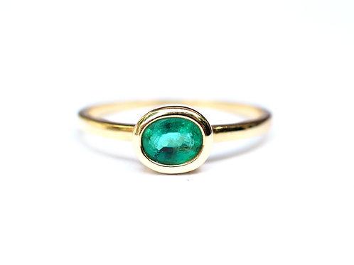 Petite Oval Zambian Emerald Ring 0.50ctw