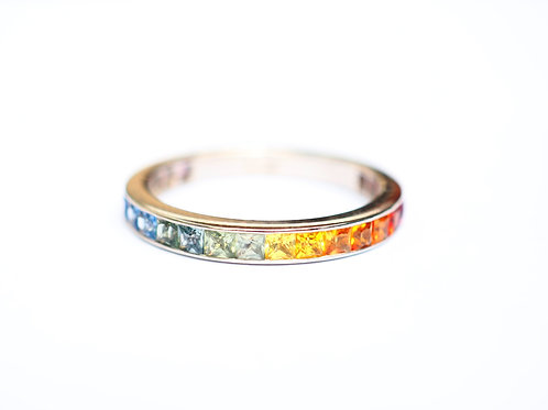 Princess Cut Multicolor Sapphire Eternity Ring.