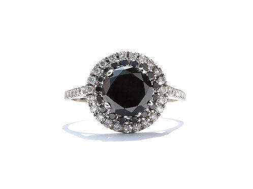 Black Diamond Double Diamond Halo Ring