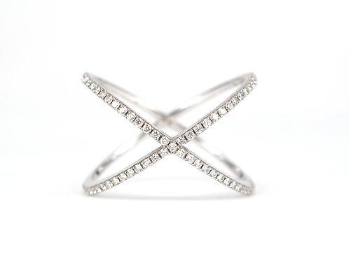 Wide Diamond Crossover Ring