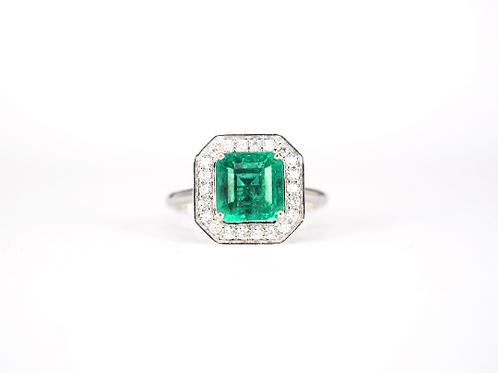 Emerald Cut Emerald Diamond Halo Ring