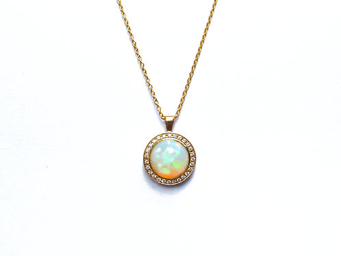 Opal and Diamond Round Pendant Necklace