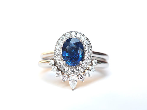 Natural Oval Blue Sapphire and Diamond Nesting Ring Set .