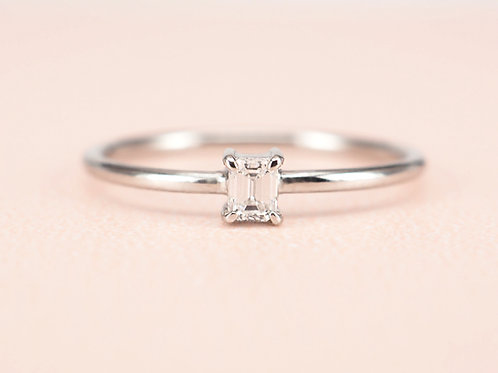 Baby Emerald Cut Diamond Solitaire 0.10ctw