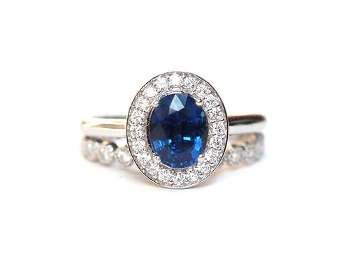 Natural Oval Sapphire and Eternity Ring Set . Blue Sapphire With Diamond Halo .