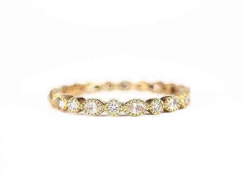 Milligrain Edge Marquise and Round Diamond Wedding Band Marquise Eternity Ring
