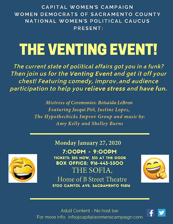 Does the current state of political affairs have you in a funk?  Then join us for the Venting Event!  Featuring comedy, improv and audience participation to help you relieve stress and have fun.