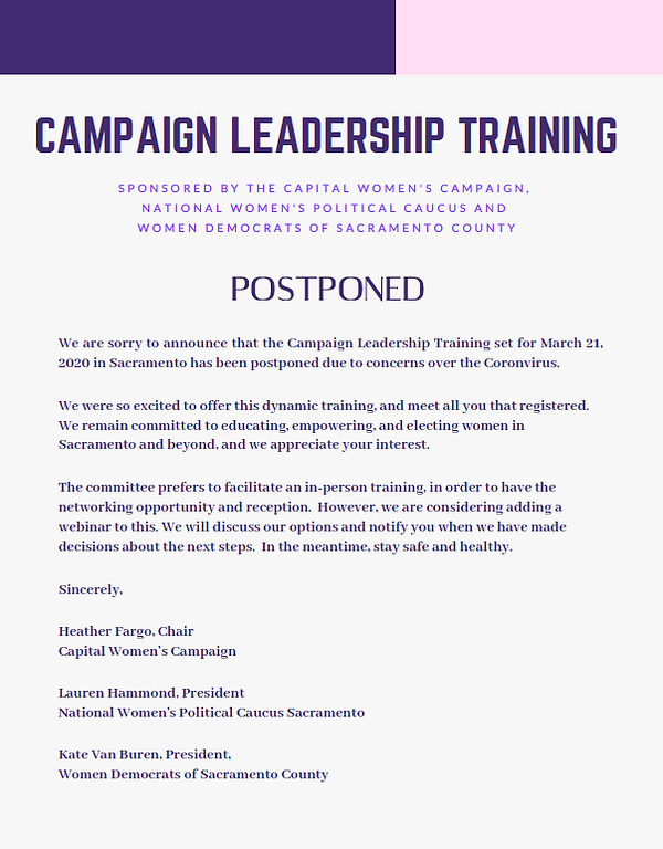 This training has been postponed.   In an abundance of caution, this event has been postponed.  State and County health officials are offering guidance of limiting gatherings for the time being.
