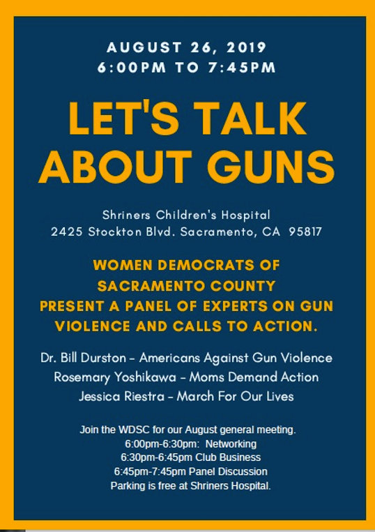 Let's talk about guns.  Join us for a panel discussion with experts on gun violence and what legislation is being offered to enforce common sense laws.
