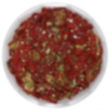 eingelegte getrocknete Tomatenin Kräuter und Knoblauch