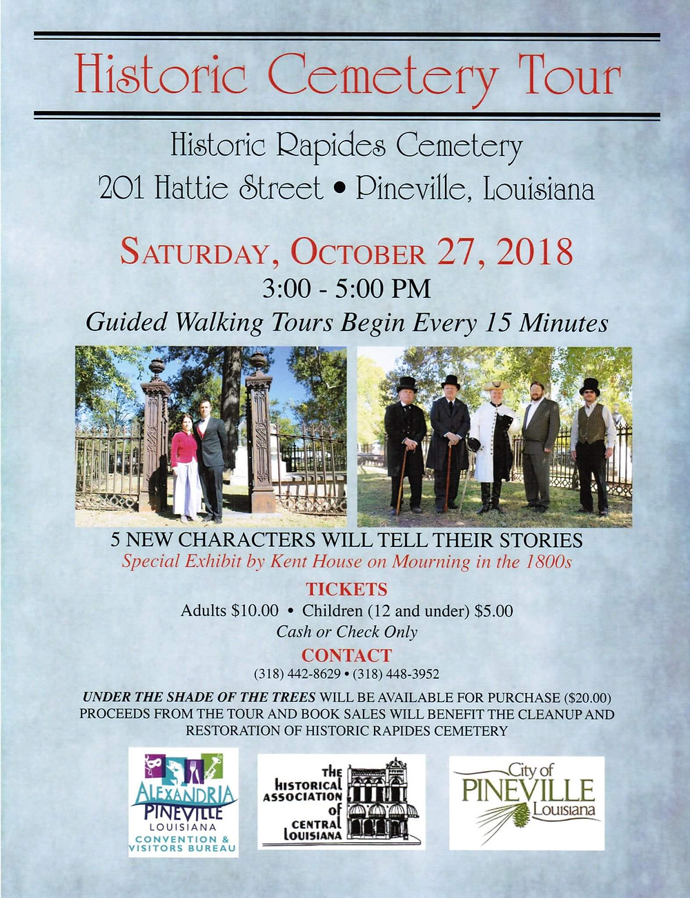 Saturday 10/27 3 - 5 p.m. Tours every 15 minutes