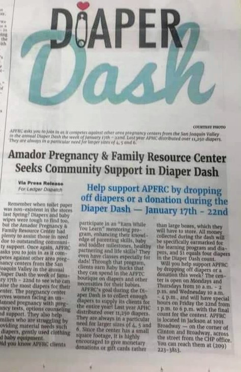 Amador Pregnancy Resource Center's Newspaper Clipping!
