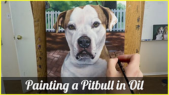 Pitbull oil painting
