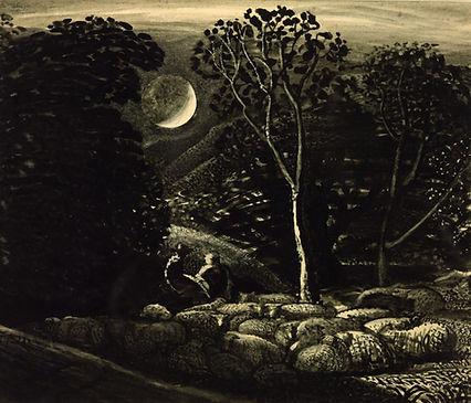 Tim Cutler,Samuel Palmer,sheep by moonlight