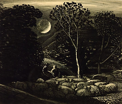 Tim Cutler,Samuel Palmer,sheep by moonlight
